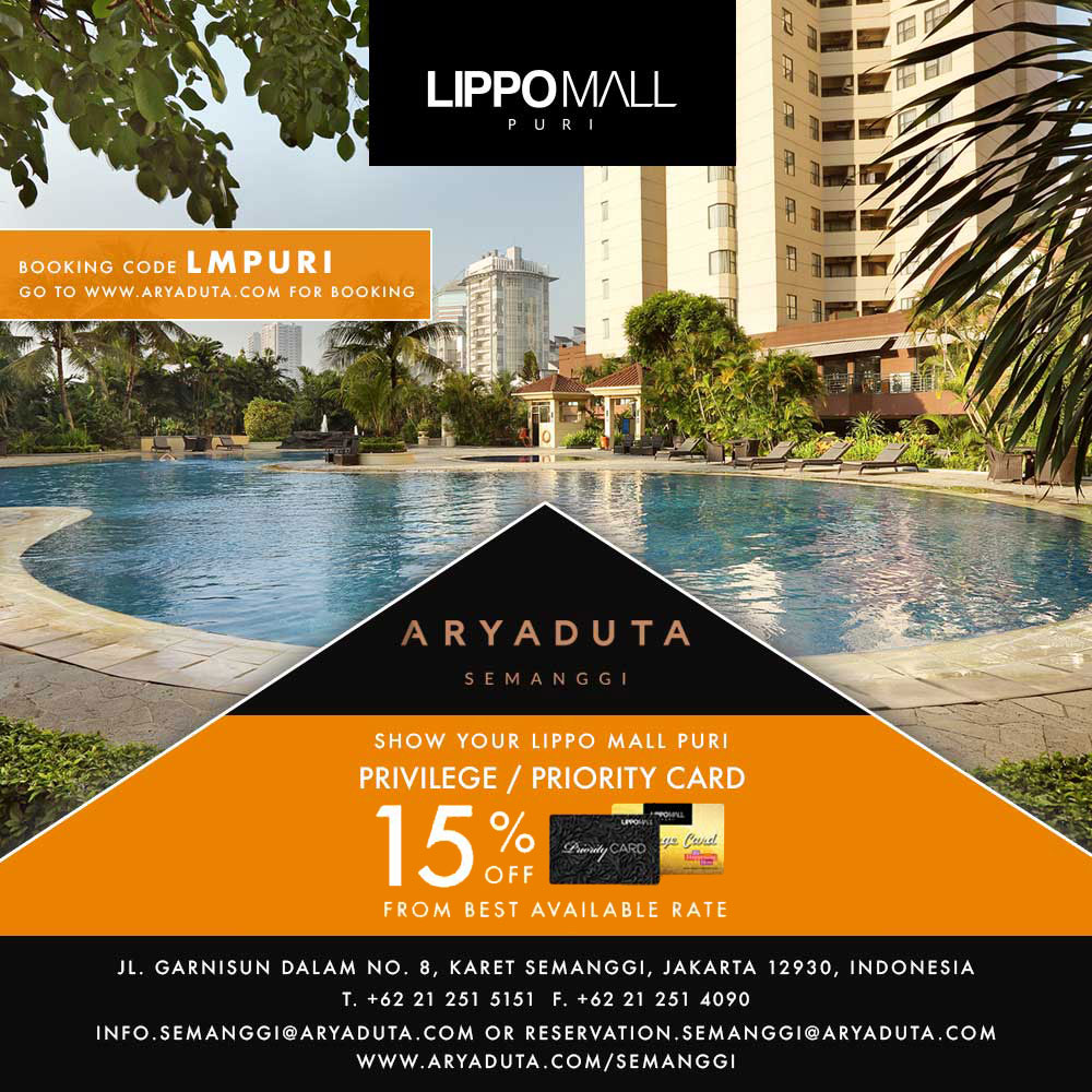 hotel aryaduta promo in lippo mall puri st. moritz with priority card