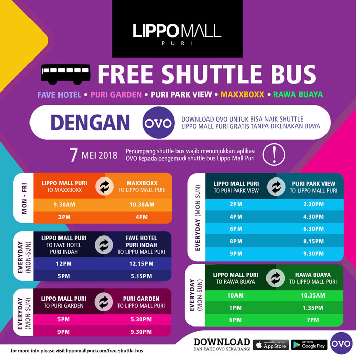 free shuttle bus with ovo in lippo mall puri st. moritz