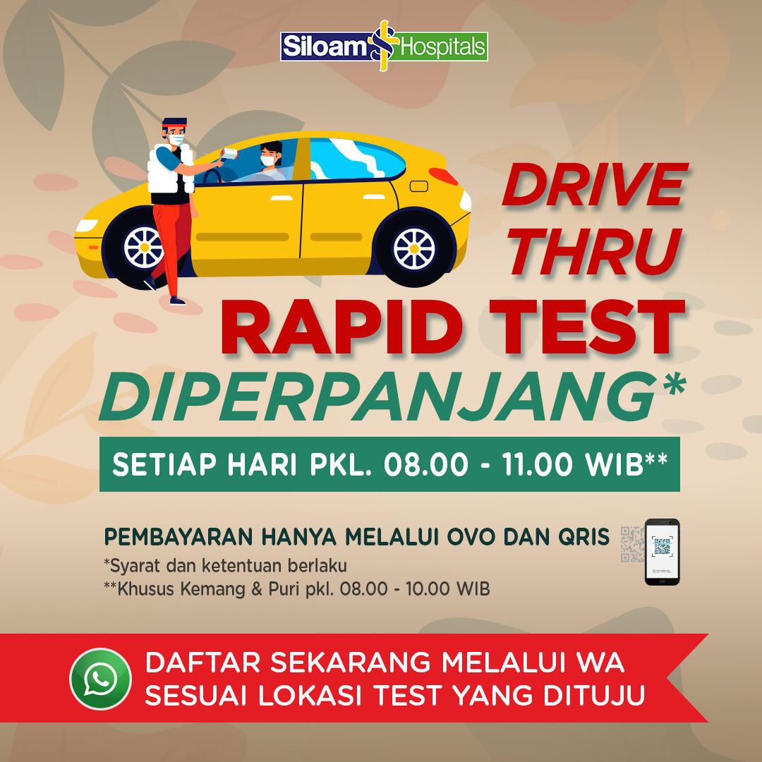 Drive Thru RAPID TEST by Siloam Hospitals in lippo mall puri st. moritz