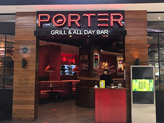 PORTER BAR & GRILL shop front in lippo mall puri st. moritz