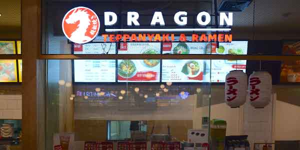 Dragon Teppanyaki & Ramen shop front in lippo mall puri st. moritz