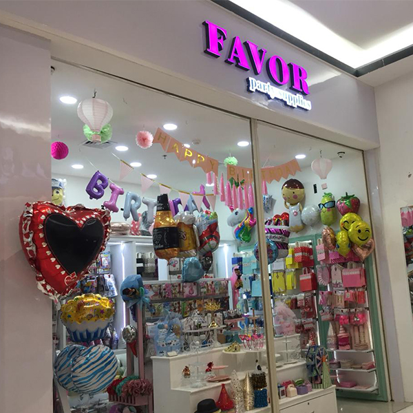 Favor Party Supplies shop front in lippo mall puri st. moritz
