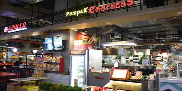 Pempek Express shop front in lippo mall puri st. moritz