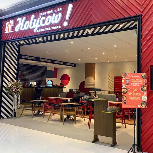 Holycow shop front in lippo mall puri st. moritz