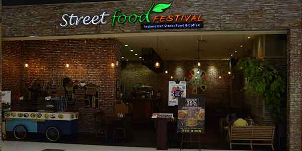 Street Food Festival shop front in lippo mall puri st. moritz