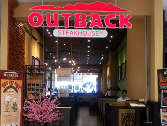 Outback Steakhouse shop front in lippo mall puri st. moritz