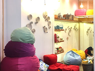 Pouffie shop front in lippo mall puri st. moritz