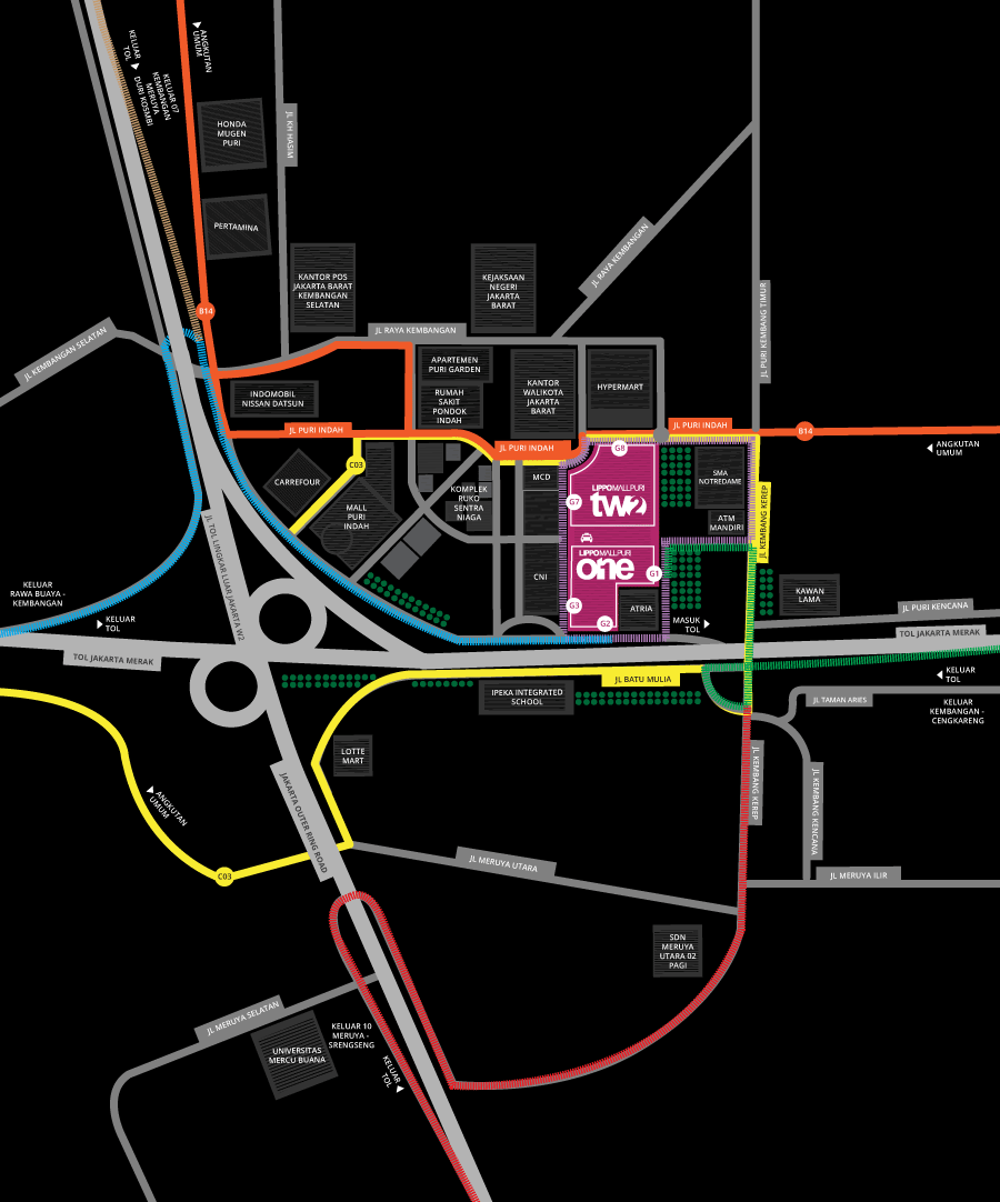 map direction to lippo mall puri