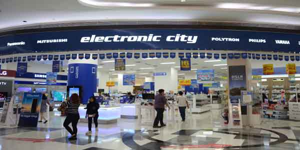 Electronic City shop front in lippo mall puri st. moritz