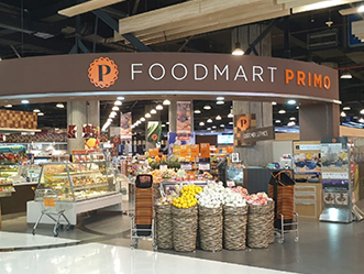 Primo Supermarket shop front in lippo mall puri st. moritz