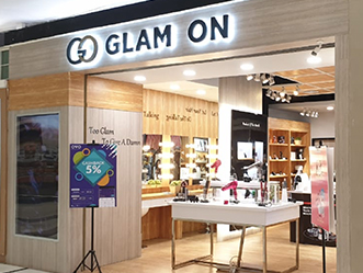 Glam On shop front in lippo mall puri st. moritz