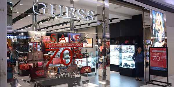 Guess Accesories shop front in lippo mall puri st. moritz