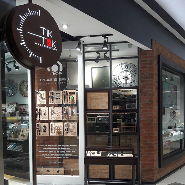 Tik Tok Watch shop front in lippo mall puri st. moritz