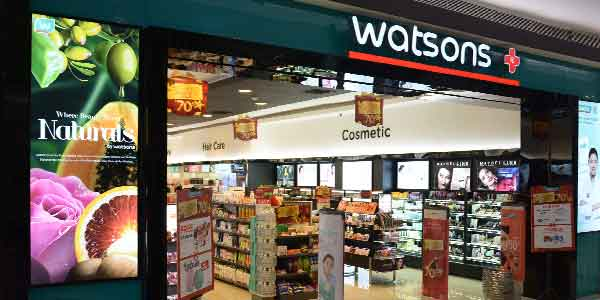 Watsons shop front in lippo mall puri st. moritz