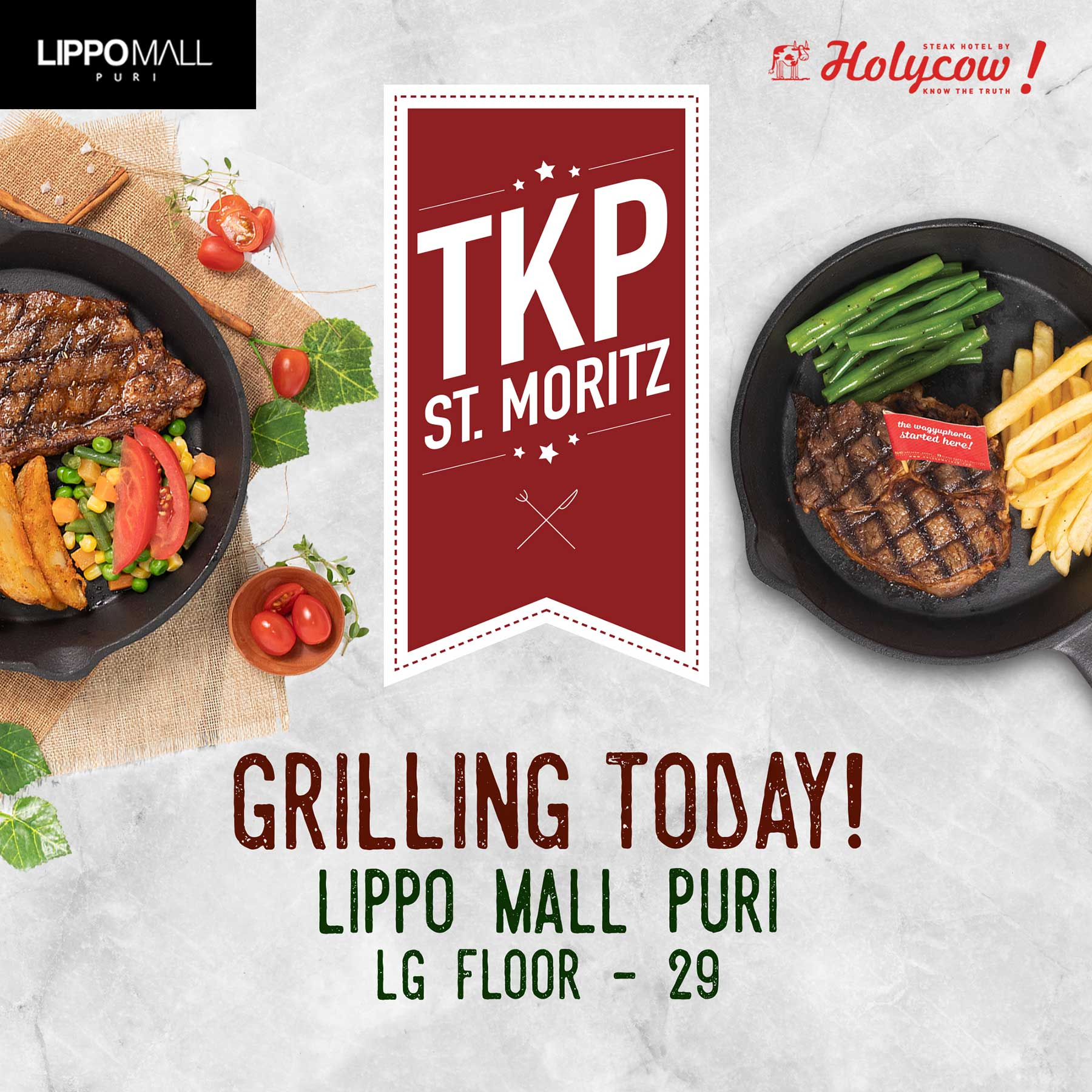 Holycow now open in lippo mall puri st. moritz